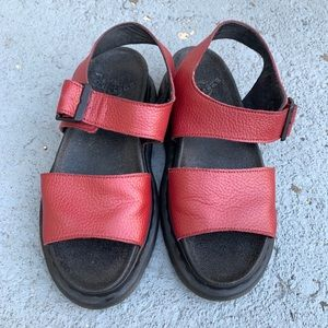 Dr. Martens Romi Red Leather Sandals